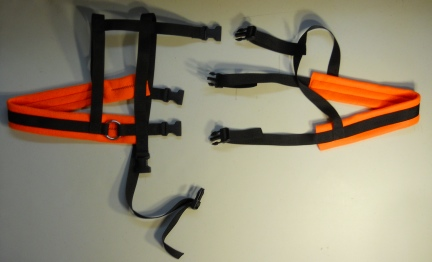 DWARF-KINDER-MINI  Goat Wagon Harness Black Orange